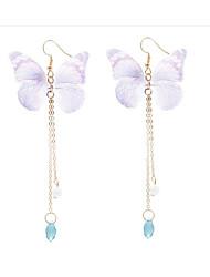 abordables -Femme Papillon Améthyste synthétique Cristal / Imitation de perle Boucles d'oreille goutte - Classique / Mode Vert / Bleu / Rose Des