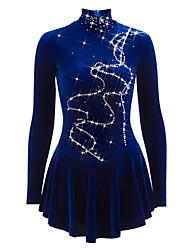 cheap -Figure Skating Dress Women's Girls' Ice Skating Dress Blue Velvet Rhinestone Performance Practise Skating Wear Handmade Solid Novelty