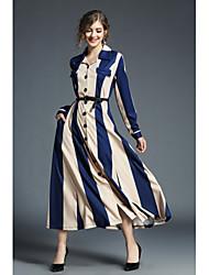 baratos -Mulheres Reto Camisa Vestido Retalhos Colarinho de Camisa Longo