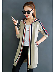 Women's Petite Casual/Daily Simple Hoodie Jacket Striped Hooded Without Lining Micro-elastic Cotton Long Sleeve Winter Fall