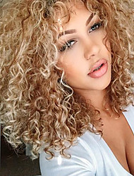 cheap -Synthetic Hair Wigs Curly Side Part With Bangs Natural Wigs Medium Blonde