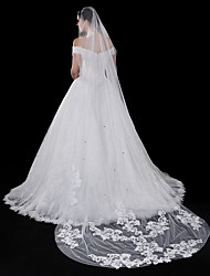 cheap -One-tier Modern Style Flower Style Accessories Lace Applique Edge Lace European Oversized Bridal Princess Wedding Wedding Veil Blusher