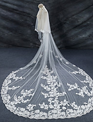 cheap -Two-tier Lace Applique Edge Bridal Wedding Wedding Veil Cathedral Veils 53 Lace Lace Tulle