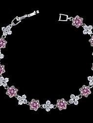 Недорогие -Жен. Синтетический алмаз Браслет - Серебрянное покрытие Браслеты Светло-лиловый / Красный / Розовый Назначение Свадьба Для вечеринок