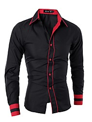 cheap -Men's Cotton Shirt - Solid Colored / Please choose one size larger according to your normal size. / Long Sleeve