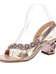 abordables -Femme Chaussures Similicuir Printemps Eté Confort Sandales Talon Bottier Bout ouvert Boucle pour Habillé Or Argent Bleu
