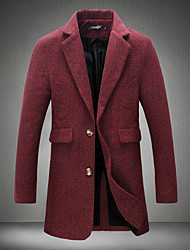 cheap -Men's Long Wool / Polyester Coat - Solid Colored Shirt Collar / Long Sleeve