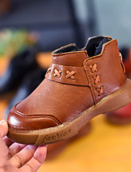 Para Meninos sapatos Courino Inverno Curta/Ankle Botas Botas Curtas / Ankle para Casual Preto Marron Vermelho