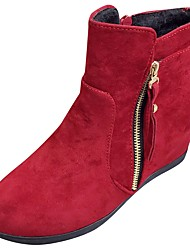 cheap -Women's Shoes PU Winter Fall Comfort Fashion Boots Boots Flat Heel Round Toe Mid-Calf Boots for Casual Black Red Khaki