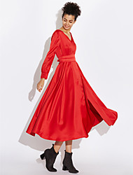 billige -Dame I-byen-tøj Sofistikerede Bomuld Swing Kjole - Ensfarvet Midi V-hals