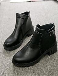 Feminino Sapatos Couro Ecológico Inverno Conforto Botas Salto Robusto Ponta Redonda Dedo Fechado Botas Curtas / Ankle para Casual Preto
