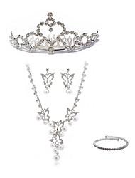 Недорогие -Жен. Свадебные комплекты ювелирных изделий Y-ожерелья Стразы европейский Мода Свадьба Для вечеринок Искусственный бриллиант Сплав Бабочка