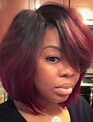 preiswerte -Synthetische Perücken Glatt Bubikopf Afro-amerikanische Perücke Rot Damen Kappenlos Promi-Perücke Natürliche Perücke Kurz Synthetische