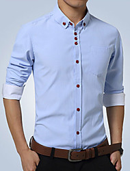 cheap -Men's Work Slim Shirt - Solid Colored Basic Button Down Collar