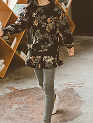 Girl's Casual/Daily Floral Dress,Polyester Winter Fall Long Sleeves Simple Gray