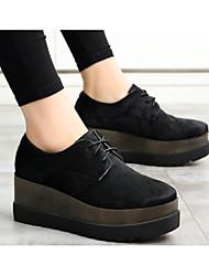Feminino Sapatos Pêlo de Cavalo Primavera Outono Conforto Oxfords Creepers para Casual Preto