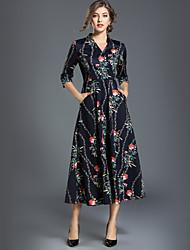 cheap -Women's Work A Line Swing Dress - Floral Maxi V Neck