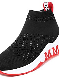 cheap -Women's Shoes PU Winter Fall Comfort Athletic Shoes Running Shoes Low Heel Round Toe for Athletic Casual Red Black