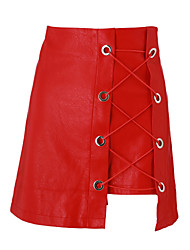cheap -Women's A Line Skirts - Solid Colored, Criss-Cross