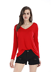 cheap -Women's Casual/Daily Sophisticated Spring Fall T-shirt,Solid V Neck Long Sleeve Polyester Spandex Medium