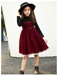 cheap -Girl's Christmas Birthday Solid Dress,Cotton Polyester Winter Fall Long Sleeves Chinoiserie Red