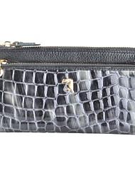 baratos -Mulheres Bolsas Pele Bolsa de Mão Estampa / Ziper para Escritório e Carreira Preto