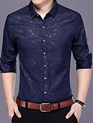 Недорогие -Для мужчин На выход Осень Рубашка Рубашечный воротник,Активный С принтом Длинные рукава,Полиэстер,Средняя