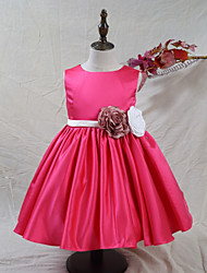 cheap -A-Line Knee Length Flower Girl Dress - Satin Sleeveless Jewel Neck with Flower(s) by LAN TING BRIDE®