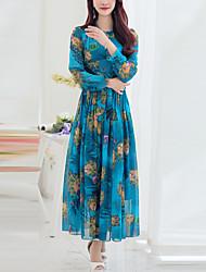 economico -Swing Vestito Da donna-Casual Vintage Con stampe Colletto alla coreana Maxi Maniche lunghe Poliestere Primavera Autunno A vita medio-alta
