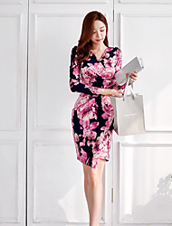 cheap -Women's Going out Simple A Line Sheath Dress,Floral V Neck Above Knee Long Sleeve Cotton Acrylic Polyester Fall High Waist Inelastic