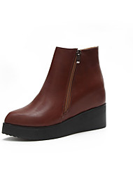 Damen Schuhe PU Sommer Komfort Sandalen Keilabsatz für Kleid Schwarz Dunkelrot