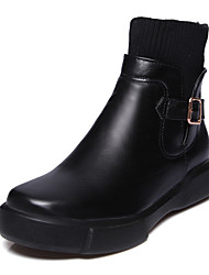 cheap -Women's Shoes Leatherette PU Winter Fall Fashion Boots Bootie Boots Flat Heel Round Toe Booties/Ankle Boots Buckle for Dress Office &