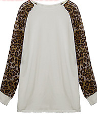 cheap -Women's Daily Going out Sweatshirt Leopard Round Neck Micro-elastic Polyester Long Sleeve Winter Fall