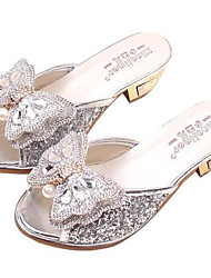 cheap -Girls' Shoes Leatherette Spring Summer Comfort Flower Girl Shoes Sandals for Casual Pink Silver
