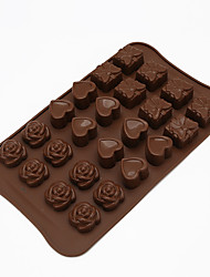 abordables -Ustensiles de cuisson à la main diy 24 trous rose amour silicone chocolat moule gâteau décoration outils