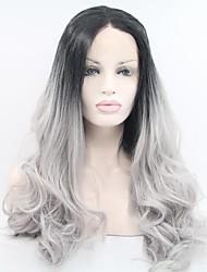 Недорогие -Парики из искусственных волос Естественные кудри Серый Жен. Лента спереди Парик из натуральных волос Длинные Искусственные волосы