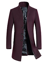 cheap -Men's Long Wool Coat - Solid Colored Stand / Long Sleeve