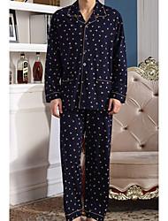 cheap -Men's Suits Pajamas,Striped Cotton Royal Blue Light Blue Navy Blue Blue