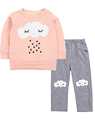 cheap -Baby Girls' Birthday Daily Print Clothing Set, Cotton Spring Cute Active Long Sleeves Orange
