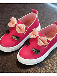 cheap -Girls' Shoes Leatherette Spring Fall Flower Girl Shoes Comfort Loafers & Slip-Ons for Casual White Fuchsia Pink