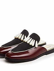 cheap -Women's Shoes Cowhide Horse Hair Spring Summer Comfort Clogs & Mules Flat Heel Square Toe for Casual Army Green Burgundy