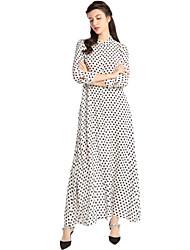 abordables -Femme Bohème Trapèze Robe - Classique, Points Polka Taille haute Col de Chemise Maxi