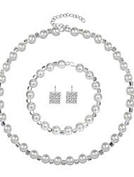cheap -Women's Imitation Pearl Jewelry Set 1 Necklace / 1 Bracelet / Earrings - Fashion Circle White Jewelry Set For Wedding / Gift