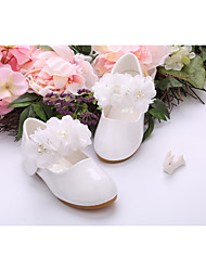 cheap -Girls' Shoes Patent Leather Spring Summer Flower Girl Shoes Light Soles Flats Walking Shoes Applique Hook & Loop Flower for Wedding Party