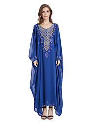 abordables -Mode Jalabiya Robe caftan Abaya Robe Arabe Femme Fête / Célébration Déguisement d'Halloween Bleu Couleur Pleine