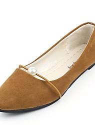 abordables -Femme Chaussures Polyuréthane Printemps Automne Confort Ballerines Talon Plat Bout pointu pour Noir Gris Marron Vert Rose