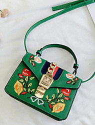 cheap -Women's Bags PU Shoulder Bag Buttons Embroidery for Casual All Seasons Green White Black Red Blushing Pink