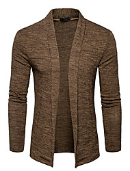 cheap -Men's Weekend Long Sleeves Cardigan - Solid Colored Shirt Collar