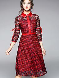 baratos -Mulheres Bainha Vestido - Básico, Estampa Colorida Colarinho de Camisa