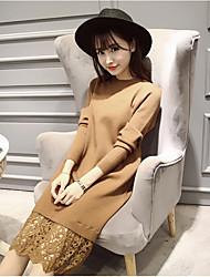 Недорогие -Для женщин Для вечеринок На выход Оболочка Платье Однотонный,Хомут До колена Шерстяная ткань Завышенная Слабоэластичная